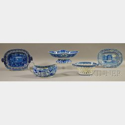 Five Pieces of English Blue Transfer-decorated Staffordshire Tableware