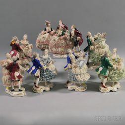 Eight Dresden Porcelain Figural Groups