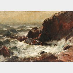 George Herbert McCord (American, 1848-1909)      Rocky Coast with Crashing Surf