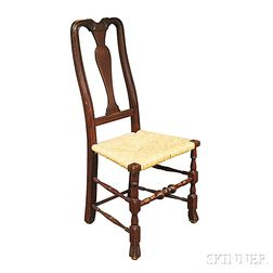 Queen Anne-style Stained Maple Rush-seat Side Chair