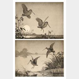 Aiden Lassell Ripley (American, 1896-1969)      Two Fowling Prints: Flight Woodcock