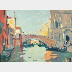 Jane Peterson (American, 1876-1965)      A Bridge in Venice