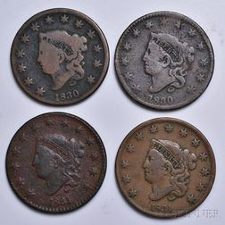 Four Coronet Head Large Cents