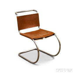 Knoll Leather and Tubular Steel Side Chair