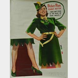 Two Large Peter Pan Peanut Butter Advertisement Letterpressed Press Sheets