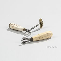Two Bone-handled Timber Scribes and a Small Awl