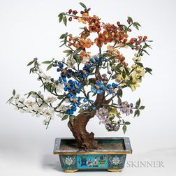 Hardstone Tree in a Cloisonne Pot