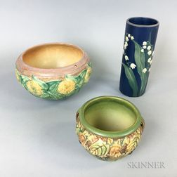 Two Weller Pottery Bowls and a Vase