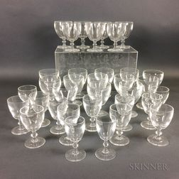 Thirty-four Pieces of Steuben Colorless Glass Stemware