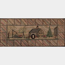 House and Well Hooked Rug