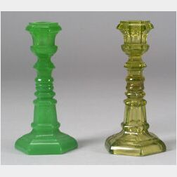 Two Colored Pressed Glass Hexagonal Candlesticks
