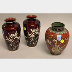 Pair of Flowering Fruit Branch Decorated Cloisonne Vases and a Rooster Decorated Cloisonne Vase.