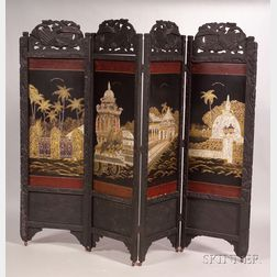 Sri Lankan Export Carved, Black-painted, and Abalone-inlaid Four-panel Floor Screen