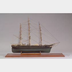 Cased Carved and Painted Wooden Model of the Clipper Ship Sovereign of the Seas