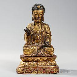 Giltwood Figure of Buddha