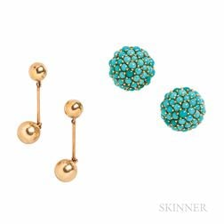 18kt Gold and Turquoise Earclips