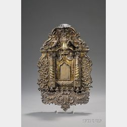 Important Silver and Silver-gilt Synagogue Ark-form Hanukkah Lamp