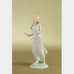 Vienna Painted Porcelain Figure of a Young Girl