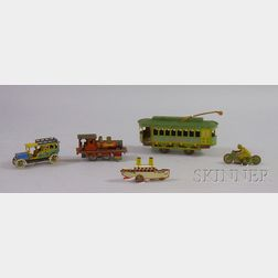 Five Small Lithographed Tin Toy Vehicles