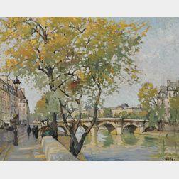 Constantine Kluge (French, 1912-2003)      Le Pont Neuf en Automne