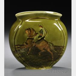 Albion Ware Pottery Pillow Vase with Figure on Horseback