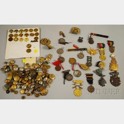Lot of Mostly U.S. Military and Uniform Buttons and Regalia