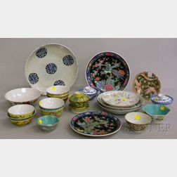 Twenty-one Chinese and Asian Enamel-decorated Porcelain Bowls, Plates, and Dishes