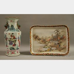 Chinese Hexagonal Famille Rose Porcelain Vase and a Japanese Kutani Porcelain Tray