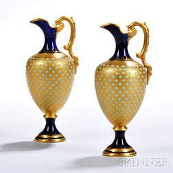 Pair of Jeweled Coalport Porcelain Ewers