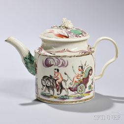 Polychrome Enameled Creamware Cybele   Teapot and Cover