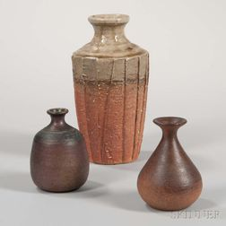 Three Studio Pottery Stoneware Vases