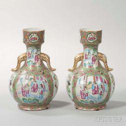 Pair of Bottle-shaped Rose Mandarin Export Porcelain Vases
