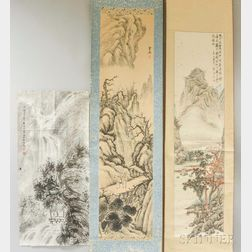 Fu Baoshi Painting and Two Hanging Scroll Paintings