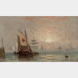 Edward Moran (American, 1828-1901)      Fishing Fleet at Sunset