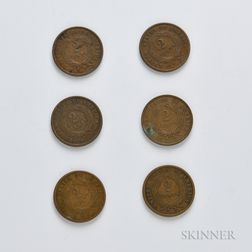 Six Two-cent Coins