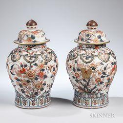Pair of Samson-type Imari-style Urns