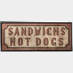 "Painted ""Sandwichs/Hot Dogs"" Sign"
