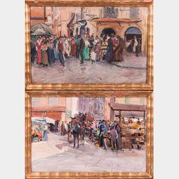 Paul Kutscha (Czech, 1872-1935)      Two Framed Roman Street Scenes: Market with Horse