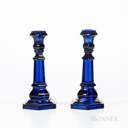 Two Dark Cobalt Blue, Hexagonal, Pressed Glass Candlesticks