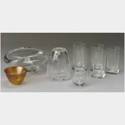 Lot of Nine Pieces of Swedish, Finnish, and American Art Glass