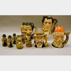 Six Small Royal Doulton Tobys, One Mid-Size and Three Large Character Jugs