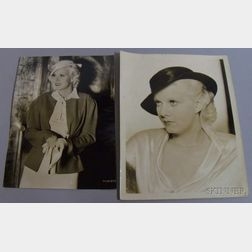 Two Jean Harlow MGM Studio Publicity Press Still Fashion Photographs with Typed   Press Snipes