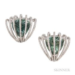 Platinum, Tourmaline, and Diamond Earclips, Evelyn Clothier