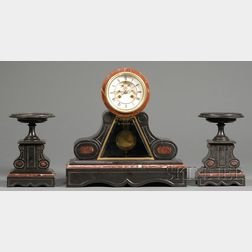 Belgian Slate and Marble Three-Piece French Clock Garniture