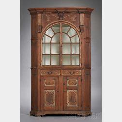 Rare Black Walnut Carved, Sulphur and Pewter-inlaid, Glazed Corner Cupboard