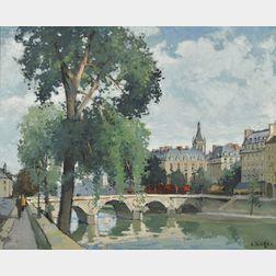 Constantine Kluge (French, 1912-2003)      Le Pont Saint-Michel