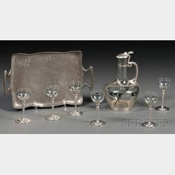 Art Nouveau Wine Carafe, Six Glasses, and Undertray