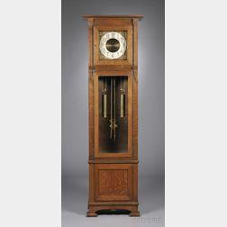 Arts & Crafts Oak Tall Clock with Regina Musical Box