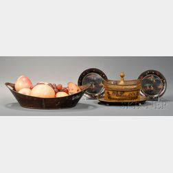 Tinware Covered Chestnut Basket, Bread Basket with Wax Fruit, and Two   Small Papier-mache Plates