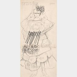 Natalia Sergeevna Goncharova (Russian, 1881-1962), Costume Design for a Spanish Dancer with a Large Flowered Mantilla and Floral Dress